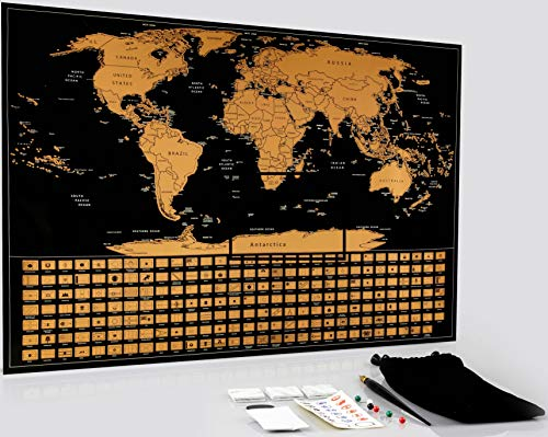 Scratch Off World Map Poster - Large Travel Map of The World with All Country Flags - Ideal Gift for Globetrotters/Travellers - Measures 22 x 16 - Includes Scratch Tools & Memory Stickers