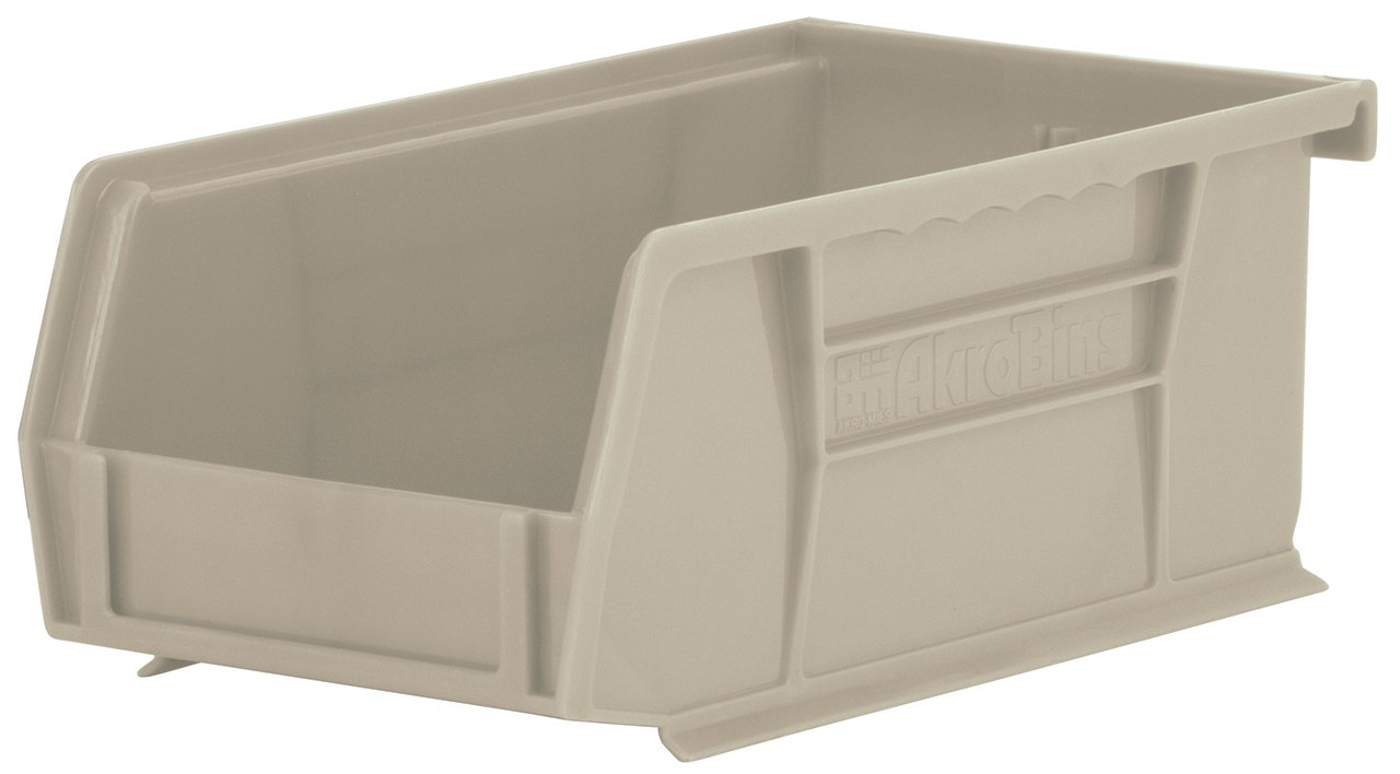 Akro-Mils 30220 Plastic Storage Stacking Hanging Akro Bin, 7-Inch by 4-Inch by 3-Inch, Stone, Case of 24