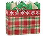 Pack Of 250, Vogue 16 X 6 X 12'' Christmas Plaid Snowflake Bags W/Kraft Paper Twist Handles Made In USA
