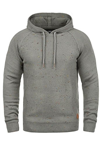 Homme Pull Grey solid Tricot 100 En Mid Maille Pour Coton over Pull 2842 À Capuche Balduin CHqwnHU4
