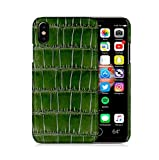 Luxury Case by KEBE Crocodile Belly Leather Lightweight Hardshell Back Cover Case 100% Handmade Shockproof Case for Iphone X 5.8 Inch Green
