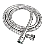 HOMEIDEAS Stainless Steel 59-Inch Long Shower Head Hose Bathroom Toilet Handheld Showerhead Sprayer Extension Replacement Part with BRASS Coupler, Polished Chrome
