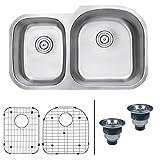 "Ruvati RVM4605 Undermount 16 Gauge 34"" Kitchen Double Bowl Sink, Stainless Steel"