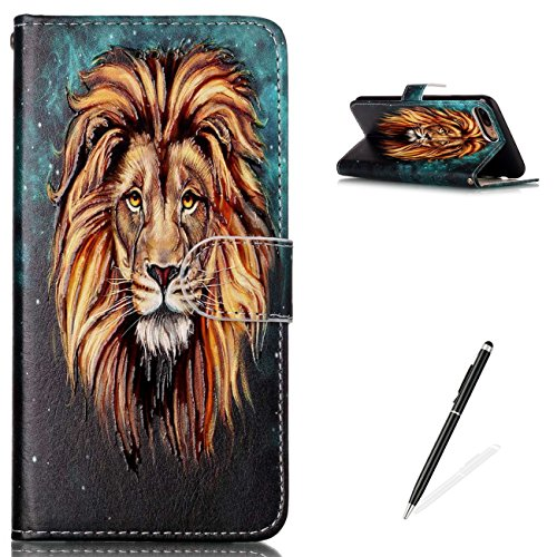 Lions Full Body (iPhone 7 Plus / 8 Plus 5.5 Inch Premium PU Leather Stand Wallet Case,MAGQI Flip Book Style Shell Cute Animal Cartoon Painting with [Free 2 in 1 Stylus] Full Body Protective Cover - Lion)