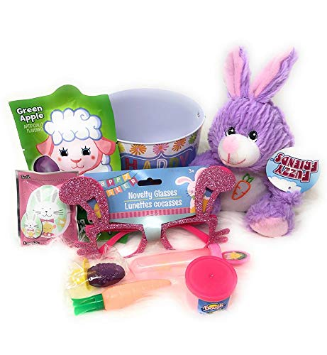 P2P (Purple Bunny) Happy Easter Mini Basket Kid Gift Set ~ (1) 6 Inch Purple Bunny (1) Tin Basket (Design May Vary) Filled with Goodies Kids Gifts Set Baskets