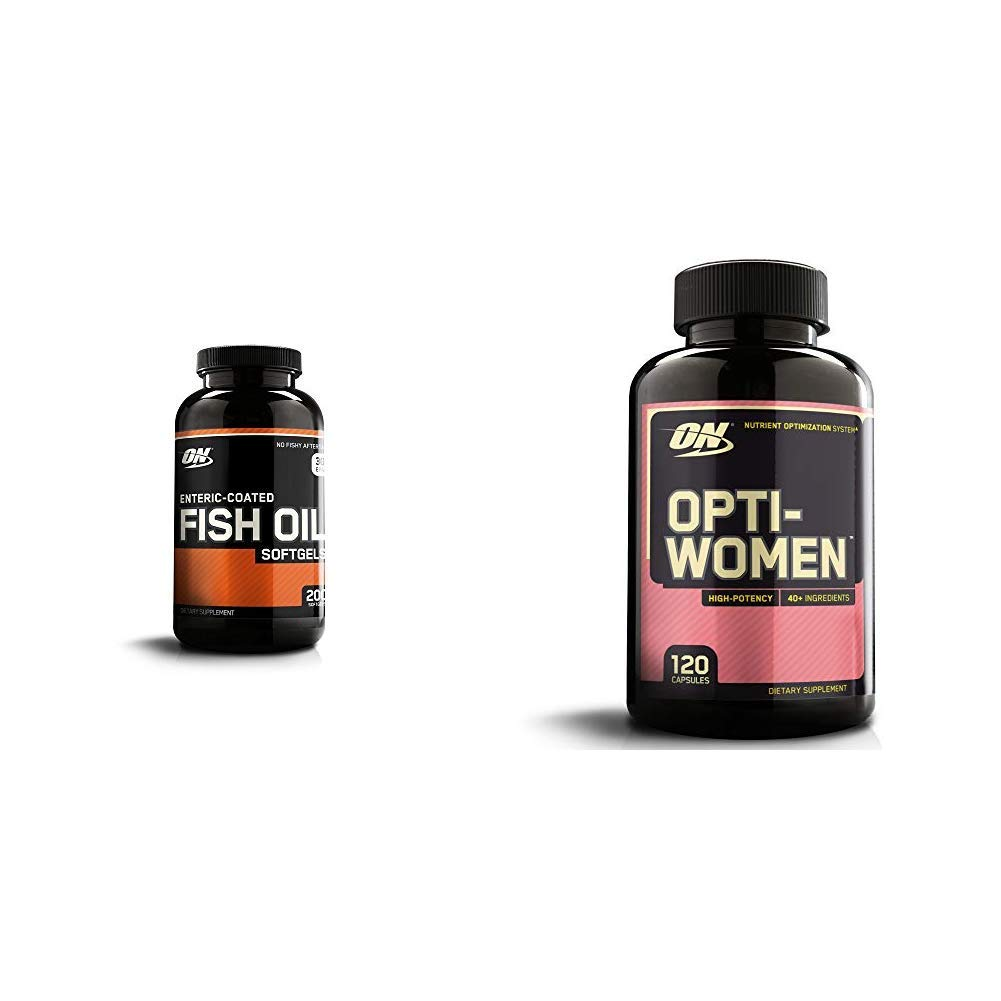 OPTIMUM NUTRITION Omega 3 Fish Oil, 300MG, Brain Support Supplement with Opti-Women, Womens Daily Multivitamin Supplement with Iron