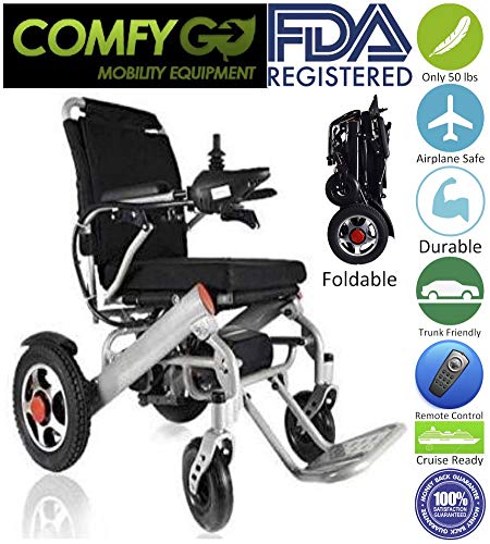 2018 New Comfy Go Remote Control Transport Folding Air Travel Electric Mobility Power Wheelchair Lithium Battery