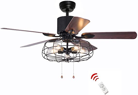 52 Inch Retro Industrial Ceiling Fan with Light 5 Wood Reversible Blade Chandelier Fan Remote Control Iron Cage Pendant Light Fan for Living