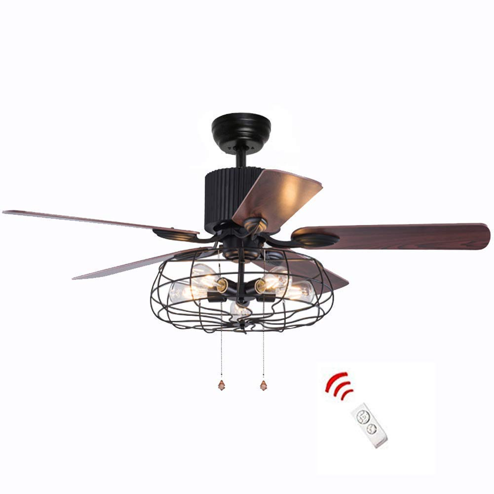 52 Inch Retro Industrial Ceiling Fan with Light 5 Wood Reversible Blade Fan Chandelier Remote Control Iron Cage Pendant Light Fan for Living Room(Bronze + Black)