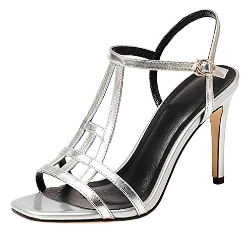 Calaier Womens Cabird Open-Toe 9CM Stiletto Buckle Sandals Shoes Silver SI5mCwCm