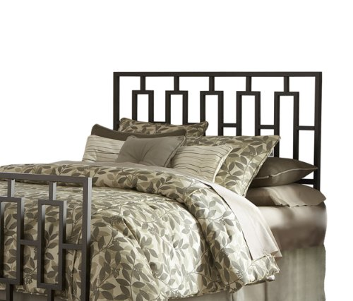 Headboards Double Beds (Miami Metal Headboard with Squared Tubing and Geometric Design, Coffee Finish,)
