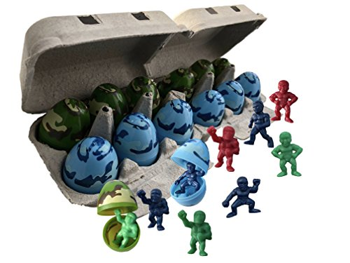Toy Filled Superhero Figurines Camouflage Themed Easter Eggs | Packed in a Real Dozen Egg Carton | For Kids Easter Egg Hunt Surprise Party Favors, Bag Stuffers, Easter (Hero Camouflage)