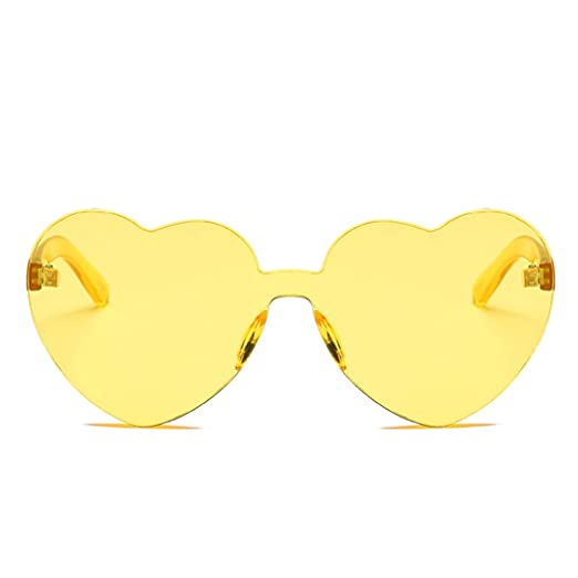 58d854baad Image Unavailable. Image not available for. Color  FUNOC Heart Shape  Rimless Sunglasses One Piece Transparent Candy Color Eyewear