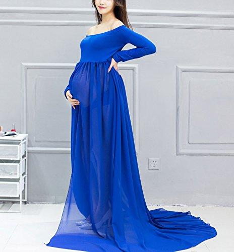 Happy cherry Maxi Vestidos de Maternidad Fotografía Props Disfraz Apoyo Fotográfico para Mujeres Embarazadas, Color Azul: Amazon.es: Ropa y accesorios