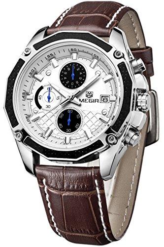 (Mens Military Multifunction Quartz Wrist Watch Chronograph Sport Watches Brown)