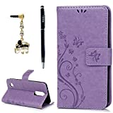 LG Aristo Case, LG Phoenix 3 Case, LG K8 2017 Case, YOKIRIN Wrist Strap Flip Kickstand PU Leather Wallet Cover Embossed Floral Butterfly with ID&Credit Card Holder 3D Blue Diamond Dust Plug,Purple
