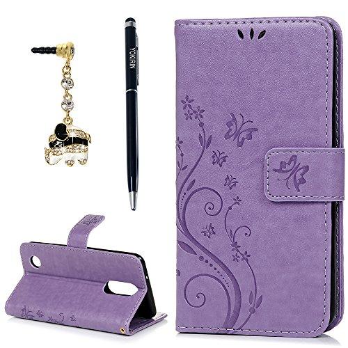 LG Aristo 2 Case, LG Aristo/LG Aristo 2 Plus/LG Tribute Dynasty/LG Fortune/LG Fortune 2/LG Phoenix 3/LG K8 2017/LG Risio 3/LG Rebel 2/LG Zone 4/LG K8 Plus/K8 2018 Case, Flip Wallet Cover, Purple