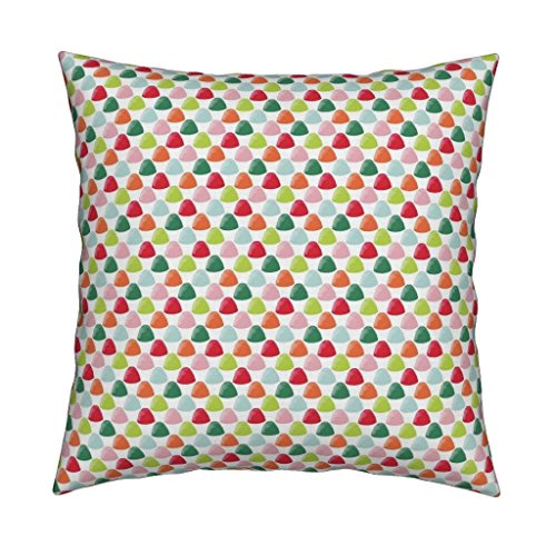 Roostery Candy Gumdrops Christmas Holiday Sweets Gingerbread House Colorful Linen Cotton Throw Pillow Goody Goody Gumdrops by Jillbyers Cover and Insert (Goody Goody Gumdrop)