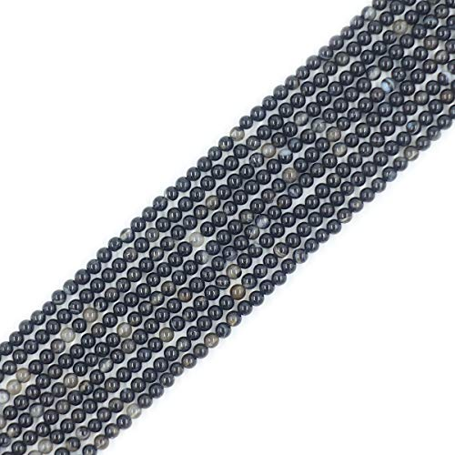 (2mm Black Onyx Agate Seed Beads Round Loose Gemstone Beads for Jewelry Making Strand 15 Inch (195-200pcs))