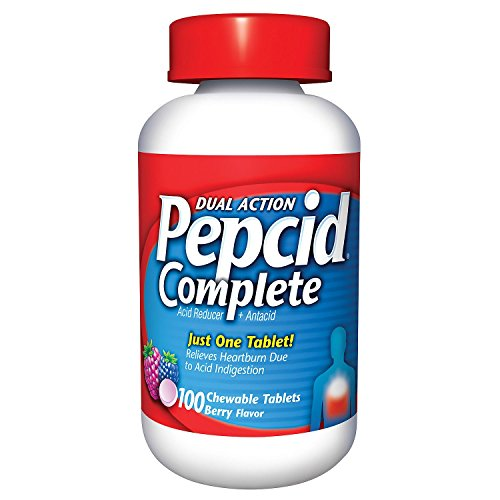 (Pepcid Complete Acid Reducer + Antacid with Dual Action, Berry, Chewable Tablets, 100 Count)