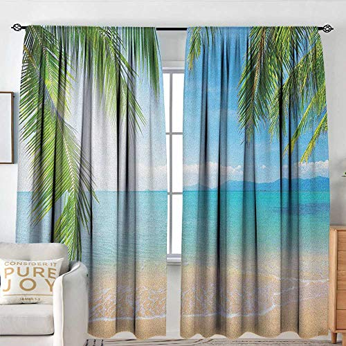 Sillgt Tropical Black Out Window Curtain Idyllic Thailand Relaxation Holiday Coast Paradise Vacation Image Room Darkening, Noise Reducing W 108