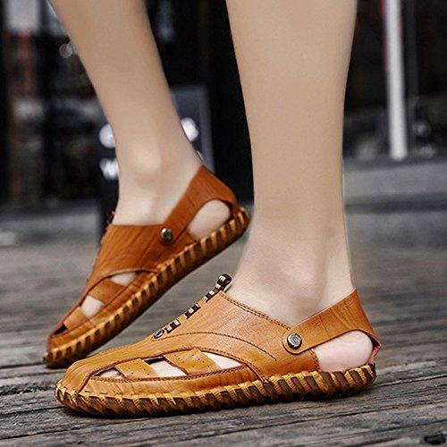 uomo assorbenti uomo antiscivolo Sandali sandali traspiranti Qingqing brown Color in da Khaki 40 Sandali chiusi Size Reddish sandali pelle sudore pelle da in EU 8qfOxa