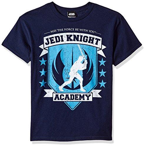 Star Wars Big Boys' Jedi Knight Academy Seal Graphic Tee, Navy, YL (Youth Big Time T-shirt)