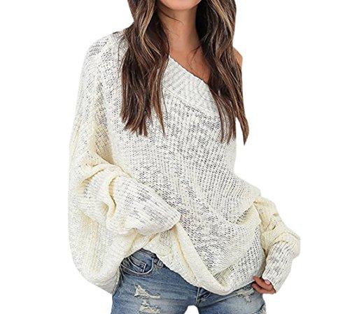 Sweater Scollo Jumper A Maglione Maglieria Lunga Donna Felpa Tops Manica Bianca Pullover Inverno Bluse Cime E Casual Sciolto Moda Barca Jackenlove Autunno 6x8Oq60