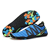 Cheap Men's and Women's Lightweight Athletic Quick Drying Mesh Aqua Slip-on Water Shoes Blue color 44