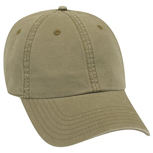 - OTTO Garment Washed Lightweight Combed Cotton Twill 6 Panel Low Profile Dad Hat - Ol. Green