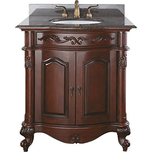 Avanity Provence 30 in. Vanity with Imperial Brown Granite Top and Sink in Antique Cherry finish For Sale