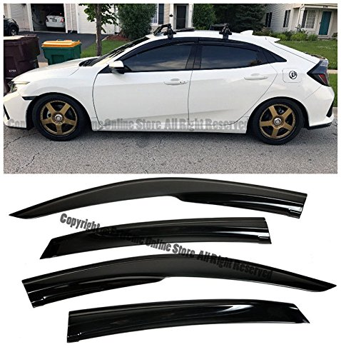 Amazon.com: Extreme Online Store EOS Smoke Tinted JDM Style Side Window Visor Rain Guard - Honda Civic 4 Door Hatchback 16-up 2016 2017 2018: Automotive