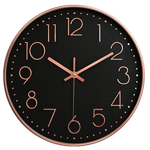 Vonzevo 12 Inch Large Non Ticking Silent Wall Clock Decorative, Battery Operated Quartz Analog Quiet Wall Clock, For Living Room, Kitchen, Bedroom- Black & Rosegold