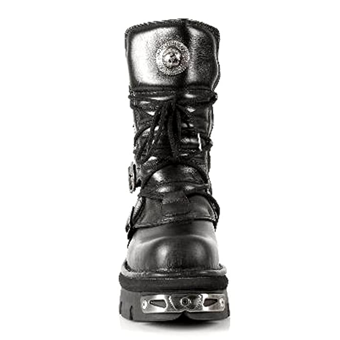 NEWROCK New Rock M.373-S4 Metallic Boots Black Leather Goth Biker Emo  Fashion: Amazon.co.uk: Shoes & Bags
