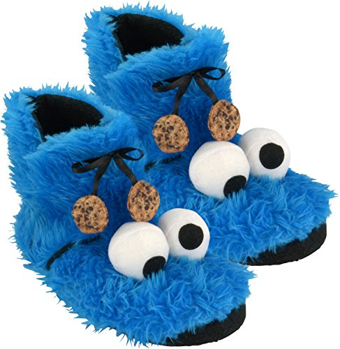 (Sesame Street 0122032 Slippers Booties Cookie Monster, Plush, Size 8,5-9)