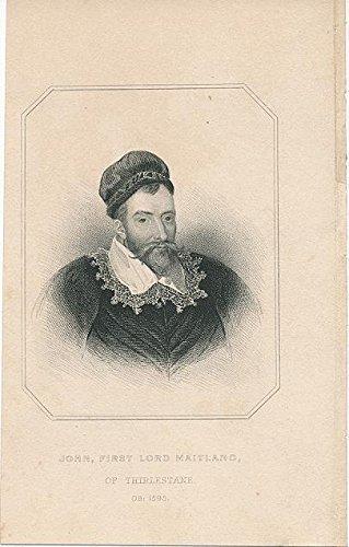 - John Lord Maitland c.1850 original antique engraved historical portrait