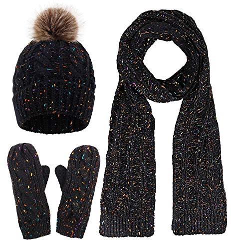 Verabella Women & Mens 3 in 1 Winter Warm Knit Beanie Hat Scarf and Mittens Set
