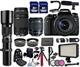 Canon EOS Digital Rebel T6s 24.2MP SLR Digital Camera with Canon EF-S 18-55mm f/3.5-5.6 IS STM Lens + Canon EF 75-300mm f/4-5.6 III Lens + 500mm f/8 Preset Lens