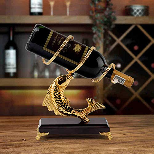 Creative European Wine Rack Fish Shaped Gold Plating Solid Wood Animal Crafts Gifts Interior Decorations