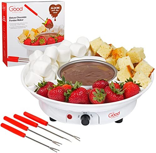Chocolate Fondue Maker- Deluxe Electric Dessert Fountain Fondu Pot Set with 4 Forks and Party Serving Tray – A Great Valentine s Day Gift