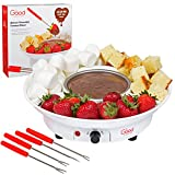 Chocolate Fondue Maker- Deluxe Electric Dessert Fountain Fondu Pot Set with 4 Forks and Party Serving Tray - A Great Valentine's Day Gift!