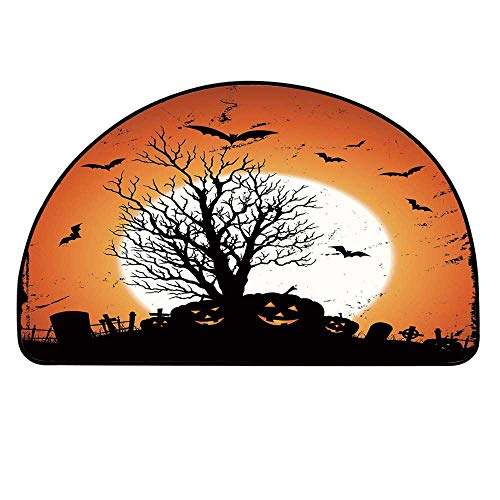 YOLIYANA Vintage Halloween Entry Mat Rugs,Grunge Halloween Image