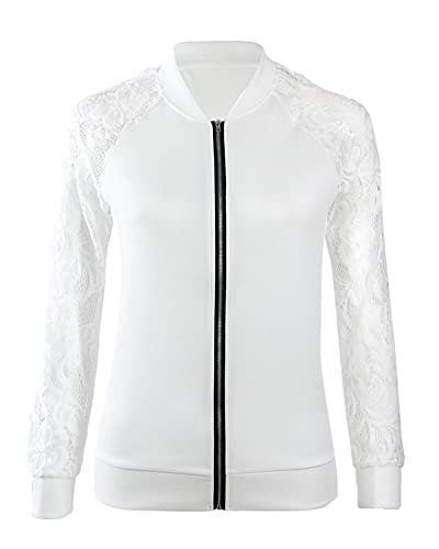 Blusa de Manga Larga Mujer Round Cuello Suelto Casual Outwear Blanco XL