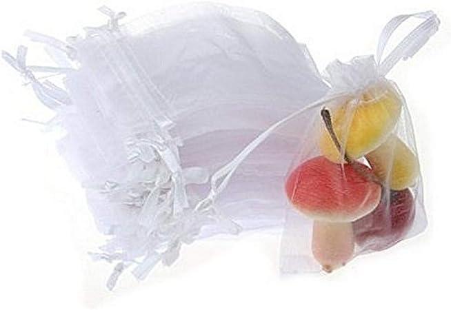 Bomboniere X Matrimonio.Jzk 50 X Bianco 7x9cm Sacchetti Coulisse Organza Portaconfetti