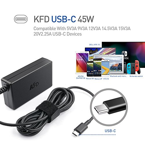 KFD 45W Type-C AC Adapter for Lenovo ThinkPad X1 tablet Yoga5 pro; LENOVO ADLX45YCC3A; ASUS ZenBook 3 UX390UA; Lenovo Accessory 4X20E75131; HP 45W N8N14AA And All Tablets Phones With USB-C Port at Electronic-Readers.com