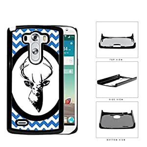 Blue & White Chevron Pattern with Deer Antler in White Center Oval Circle LG G3 VS985 Hard Snap on Plastic Cell Phone Case Cover