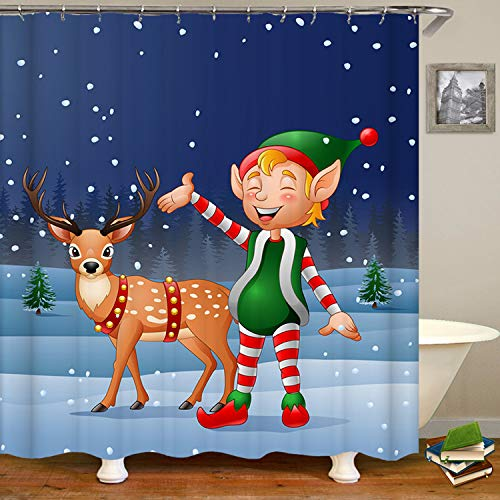 SARA NELL Christmas Elf and Reindeer Shower Curtain,Waterproof Mildew Resistant Polyester Fabric,Extra Long Bath Curtains Bathroom Decorations Home Decor Sets,72X72 Inches with 12 Hooks ()