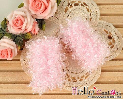 coolcat Blythe, Pullip size Fluffy leg warmers pink KS-68 (Pink Fluffies Leg Warmers)