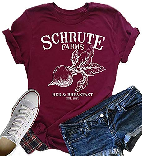 283c305b5 NENDFY Schrute Farms Beets Women's Shirt Tops Letters Graphic Casual Top  Funny Tees Blouses