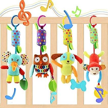 EVANCE 4 Piezas Sonajero recién Nacido, Cochecito para niños Cochecito de bebé Juguetes Colgantes para bebés, Sonajeros Suaves Juguetes para bebés de 3 6 9 12 Meses Niños y niñas (4 pack)